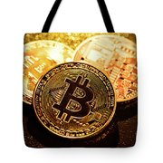 Three Golden Bitcoin Coins On Black Background. Tote Bag