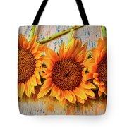 Three Graphic Sunflowers Tote Bag