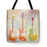 Three Guitars Paint Splatter Tote Bag