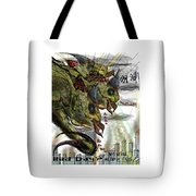 Three Headed Bird Cyborg Monster Attacking A City With Fire And Lasers For T-shirts Tote Bag