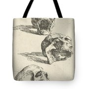 Three Human Skulls Tote Bag