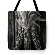 Three Indian Corn In Black And White Tote Bag