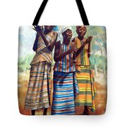 Three Joyful Girls Tote Bag