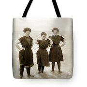 Three Ladies Bathing In Early Bathing Suit On Carmel Beach Early 20th Century. Tote Bag