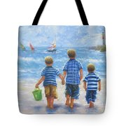 Three Little Beach Boys Walking Tote Bag