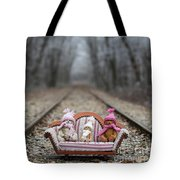 Three Little Teddy Bear Sit In A Sofa In The Middle Of The Winter Forest Tote Bag