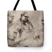 Three Men Chatting Tote Bag