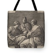 Three Muses And A Gesturing Putto Tote Bag