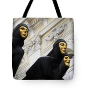 Three Muses On The Lithuanian National Dramatic Theatre In Vilnius Tote Bag