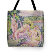 Three Nudes Tote Bag by Henri Edmond Cross