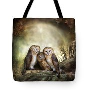 Three Owl Moon Tote Bag by Carol Cavalaris