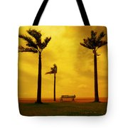 Three Palm Trees And A Bench Tote Bag