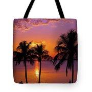 Three Palm Trees At Sunset Tote Bag