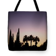 Three Palms In California At Sunset Tote Bag