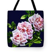 Three Pink Roses With Leaves Tote Bag