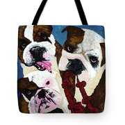 Three Playful Bullies Tote Bag