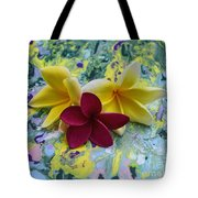Three Plumeria Flowers Tote Bag