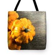 Three Pumpkins On Wood Tote Bag