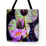 Three Purple Lilies Tote Bag