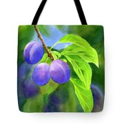 Three Purple Plums With Background Tote Bag