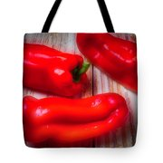Three Red Bell Peppers Tote Bag