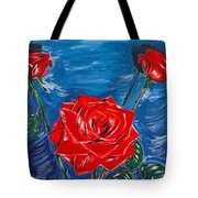 Three Red Roses Four Leaves Tote Bag