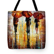 Three Red Umbrellas Tote Bag
