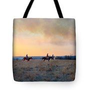 Three Riders In The Kansas Flint Hills Tote Bag