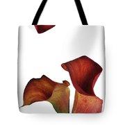 Three Rust Calla Lilies Tote Bag