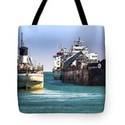Three Ships In The Harbor Tote Bag