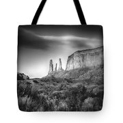 Three Sisters Formation At Monument Valley Tote Bag