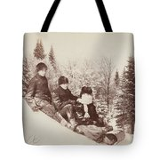 Three Tobogganers On A Snowy Hill Tote Bag