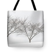 Three Trees In A Snowstorm Tote Bag