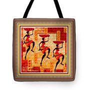 Three Tribal Dancers L A With Decorative Ornate Printed Frame. Tote Bag