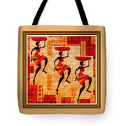 Three Tribal Dancers L B With Alt. Decorative Ornate Printed Frame. Tote Bag
