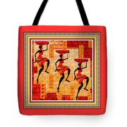 Three Tribal Dancers L B With Decorative Ornate Printed Frame Tote Bag