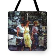 Three Women In Town Tote Bag