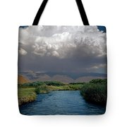 2a6738-thunderhead Over Owens River  Tote Bag