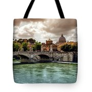 Tiber River, Ponte Sant'angelo And St. Peter's Cathedral, Roma, Italy Tote Bag