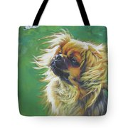 Tibetan Spaniel And Cabbage White Butterfly Tote Bag