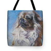 Tibetan Spaniel In Snow Tote Bag