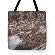 Tie Hack Historical Vignette From River Mural Tote Bag