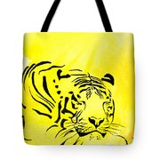 Tiger Animal Decorative Black And Yellow Poster 1 - By   Diana Van Tote Bag