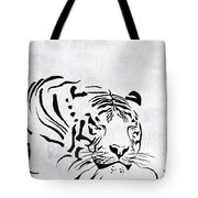 Tiger Animal Decorative Black And White Poster 1 - By  Diana Van Tote Bag