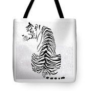 Tiger Animal Decorative Black And White Poster 4 - By  Diana Van Tote Bag