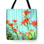Tiger Lily And Rustic Blue Wood Tote Bag