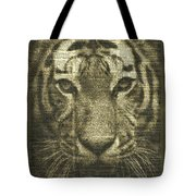 Tiger Over Dictionary Page Tote Bag