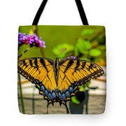 Tiger Swallowtail Butterfly By Fence Tote Bag
