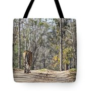 Tigress Walking Along A Track In Sal Forest Pench Tiger Reserve India Tote Bag