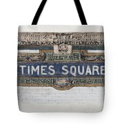 Tile Mosaic Sign, Times Square Subway New York, Handmade Sketch Tote Bag